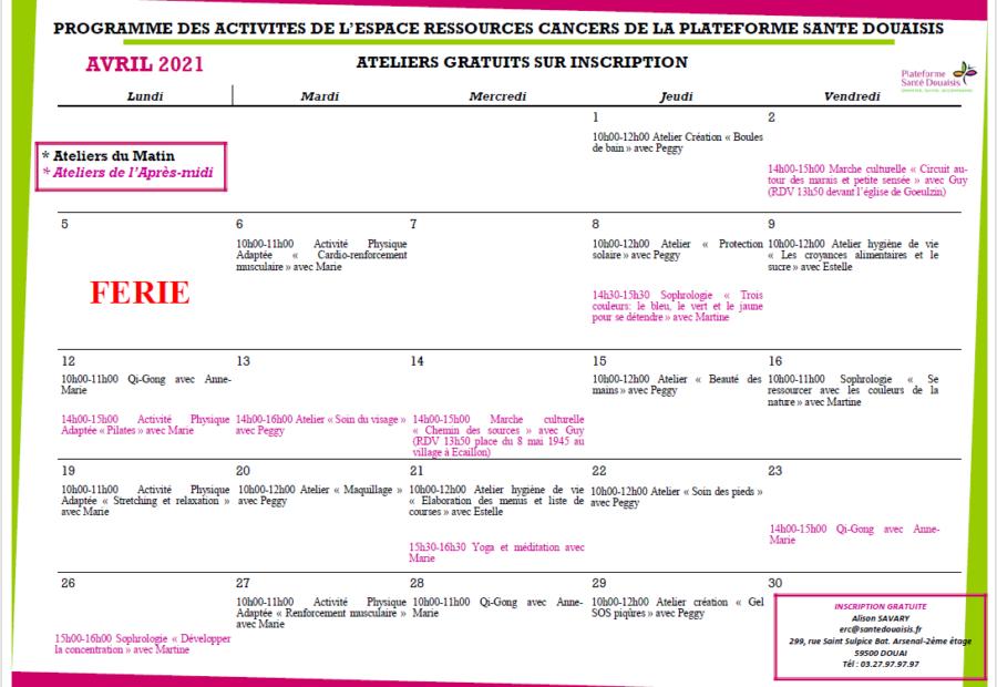 Calendrier ERC Avril 2021