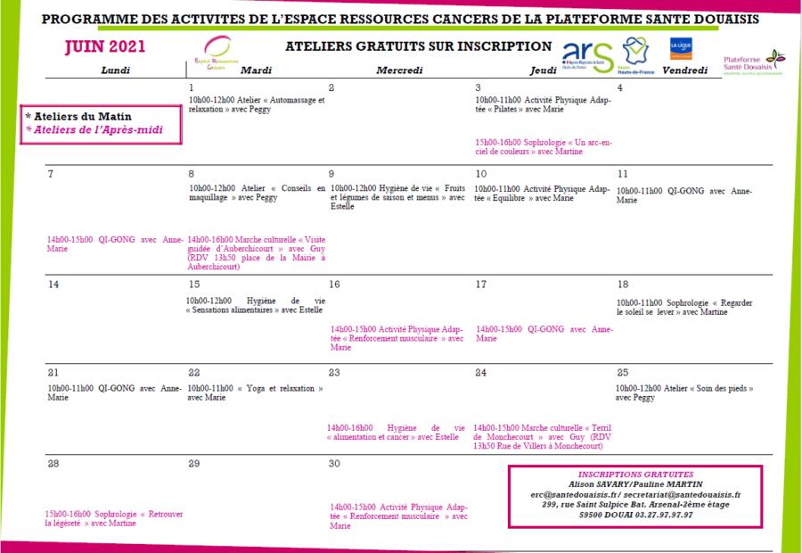 Calendrier ERC Juin 2021