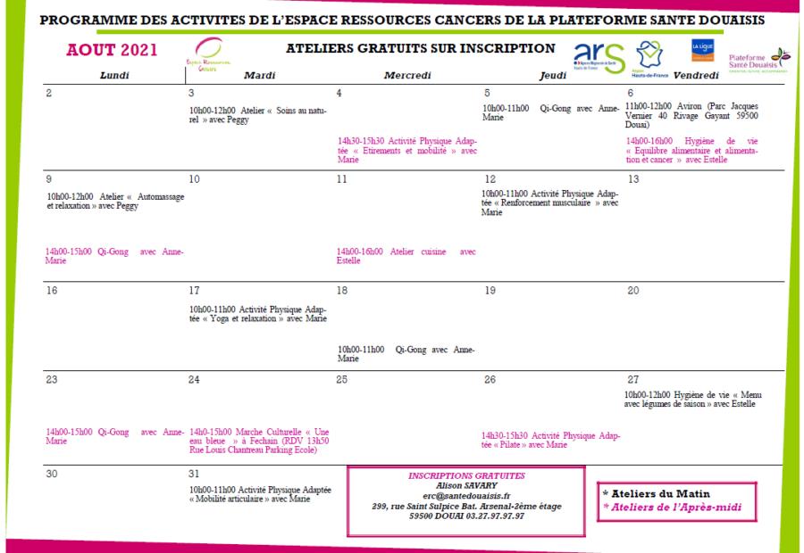 Calendrier ERC Août 2021