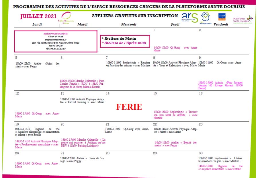 Calendrier ERC Juillet 2021